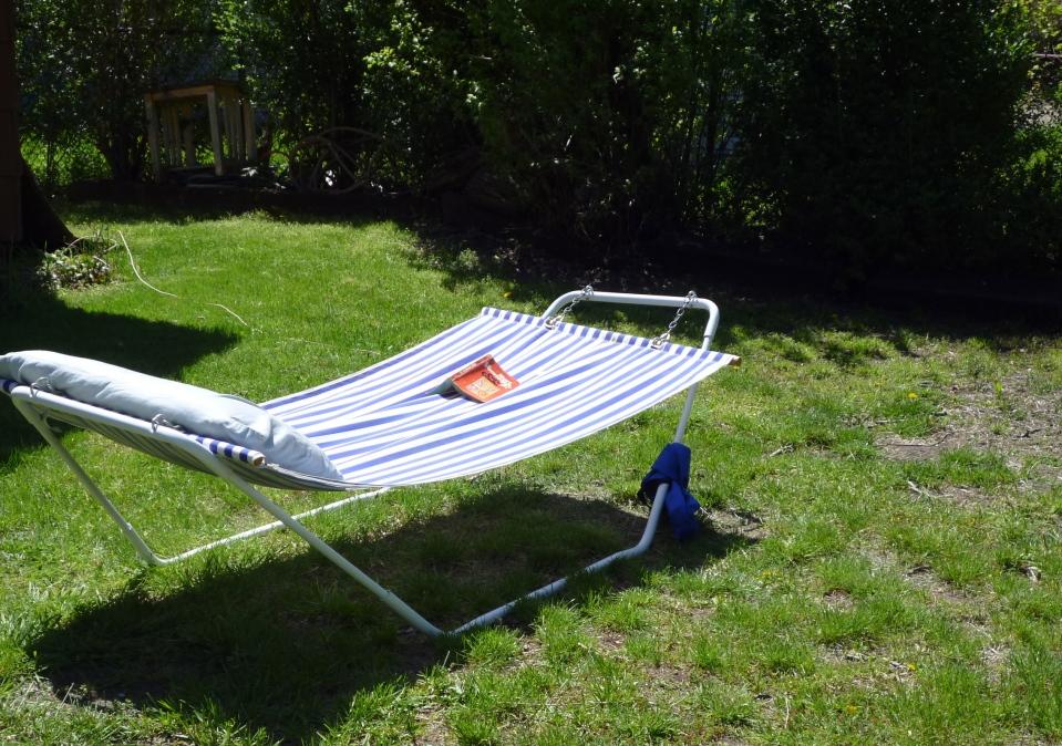 Craigslist for the win. My sister's hammock is my hammock. We share a yard.