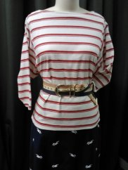 Nautical tee, anchor belt, seagull skirt.